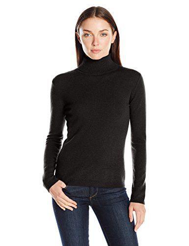 Lark & Ro Women's 100% Cashmere Slim-Fit Basic Turtleneck Sweater