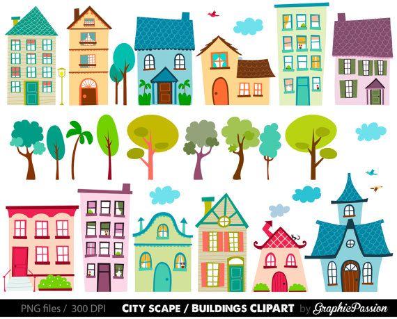 Häuser Clip Art Set - Häuser Clipart, niedliche Häuser ...