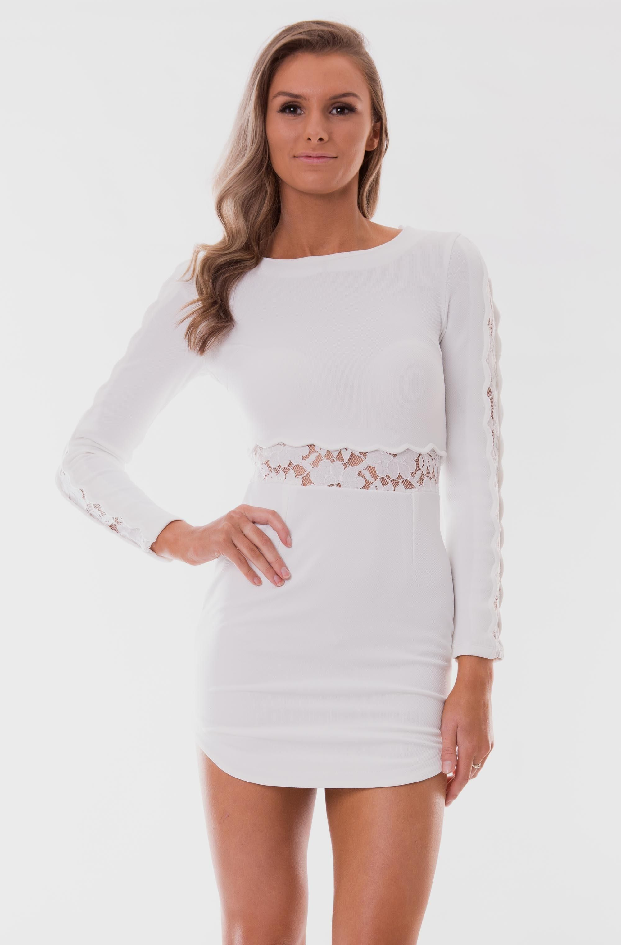 Missguided Lace Long Sleeve Bodycon Dress White/nude in White ...