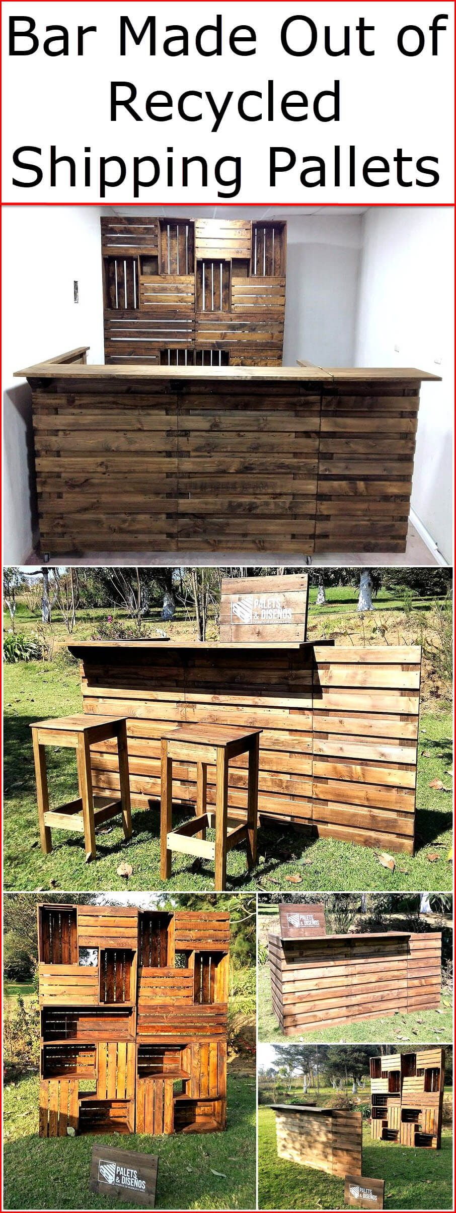 Bar Made Out of Recycled Shipping Pallets #oldpalletsforcrafting