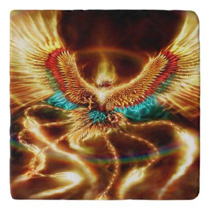 Magical & Mystical Fantasy Flying Fire Phenix Trivet
