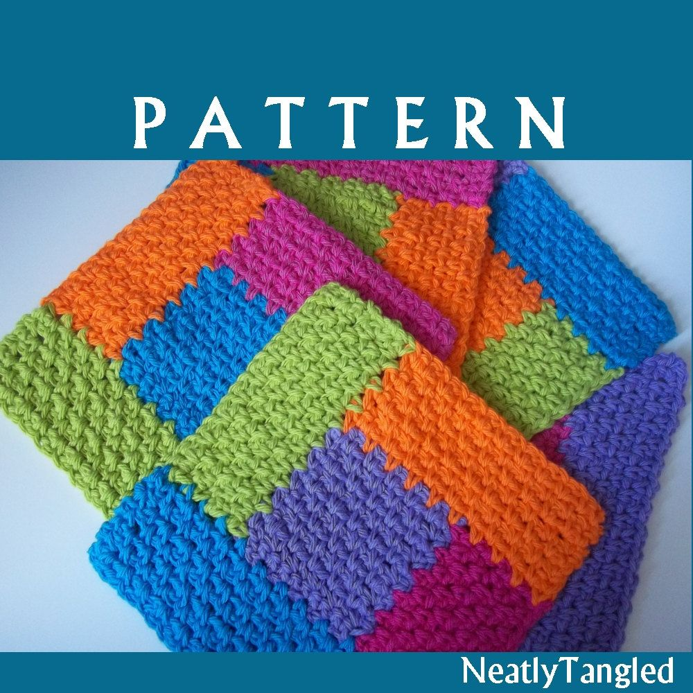 Granny Square Knitting Pattern : Crochet patternsimply square log cabin dishcloth by