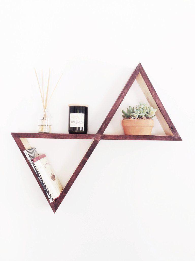 Triangle Wall Shelves Wood Wall Art Minimalist Home Decor Exterior Decor Triangle Wall