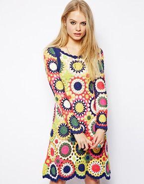 Asos Dress In Multi Colour Crochet 70er Jahre Kleider Kleidung