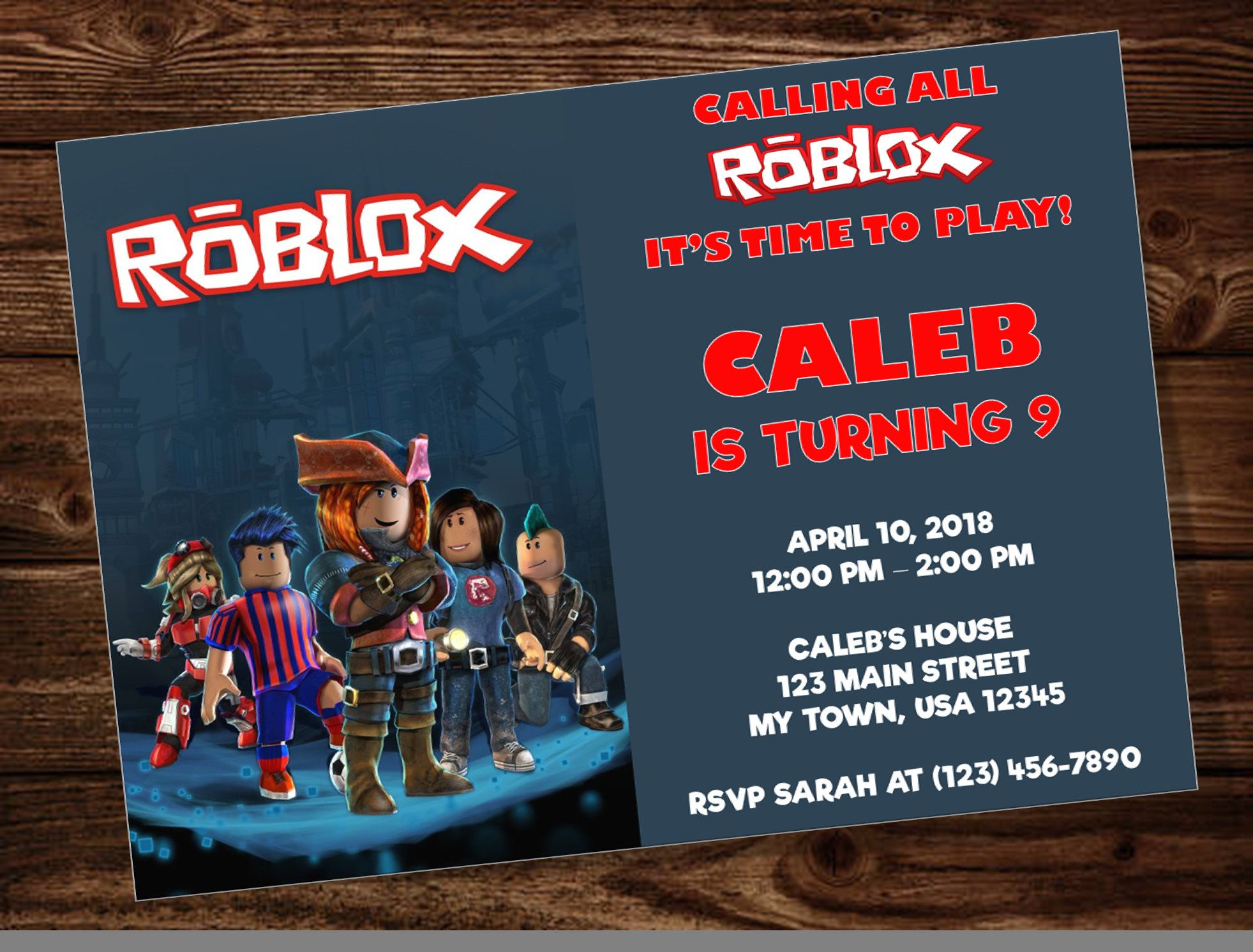 roblox birthday party invitation by