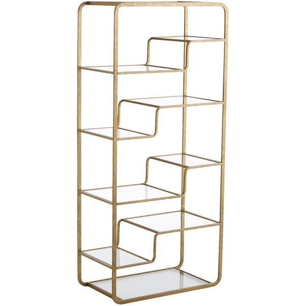 Modern asymmetrical styling rounded corners 10 clear glass shelves and a striking metallic gold finish all conspire to bring this versatile wrought iron ...  sc 1 st  Pinterest & Pier 1 Imports Gold Enzo Tall Shelf ($255) ? liked on Polyvore ...