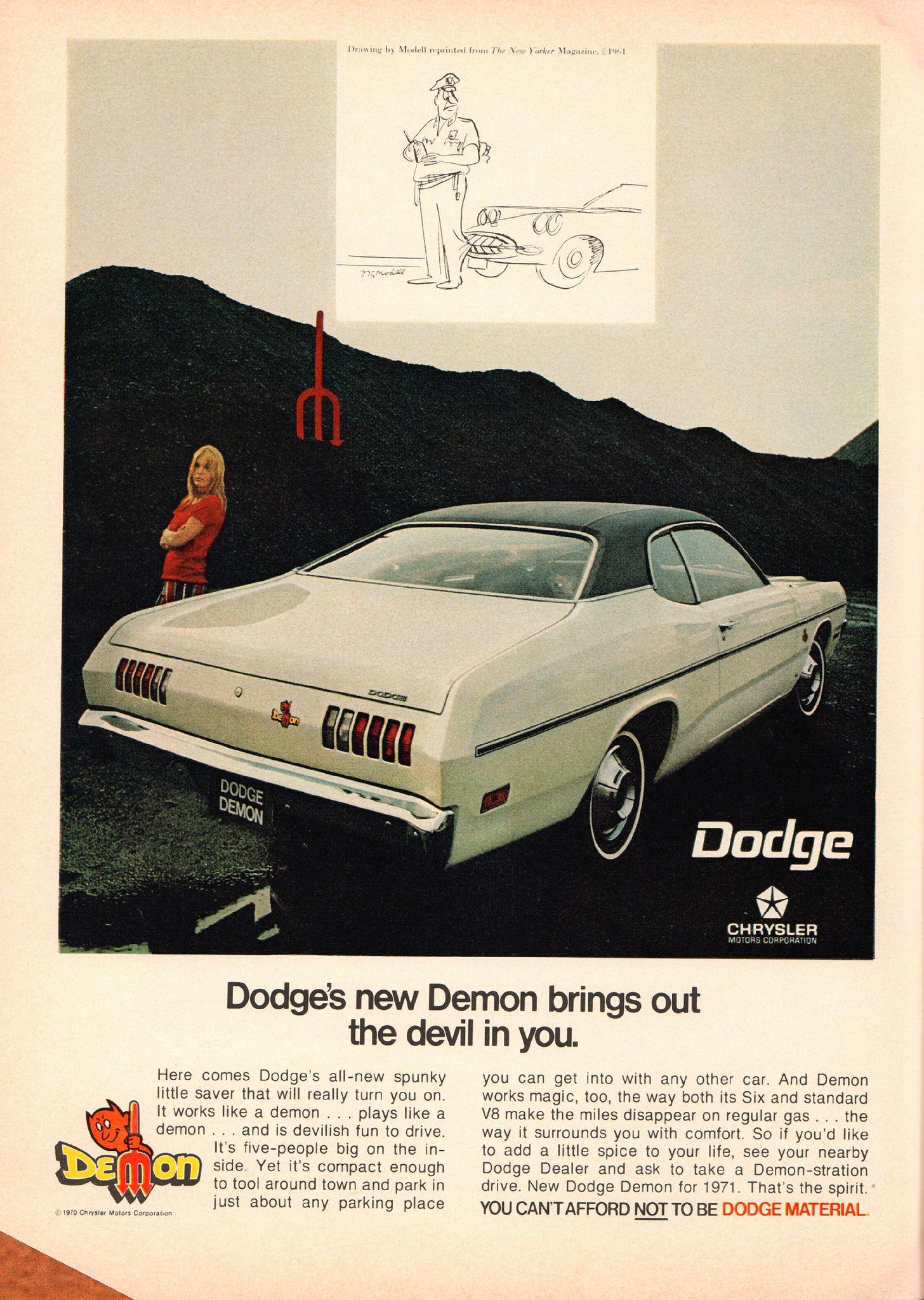 1971 Dodge Demon Advertisement Playboy November 1970