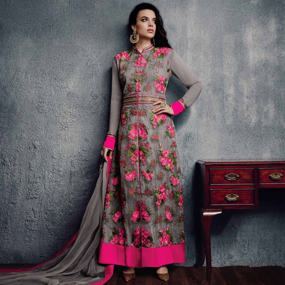 Buy Grey Floral Salwar Suit - Online Women Ethnic Wear at ...
