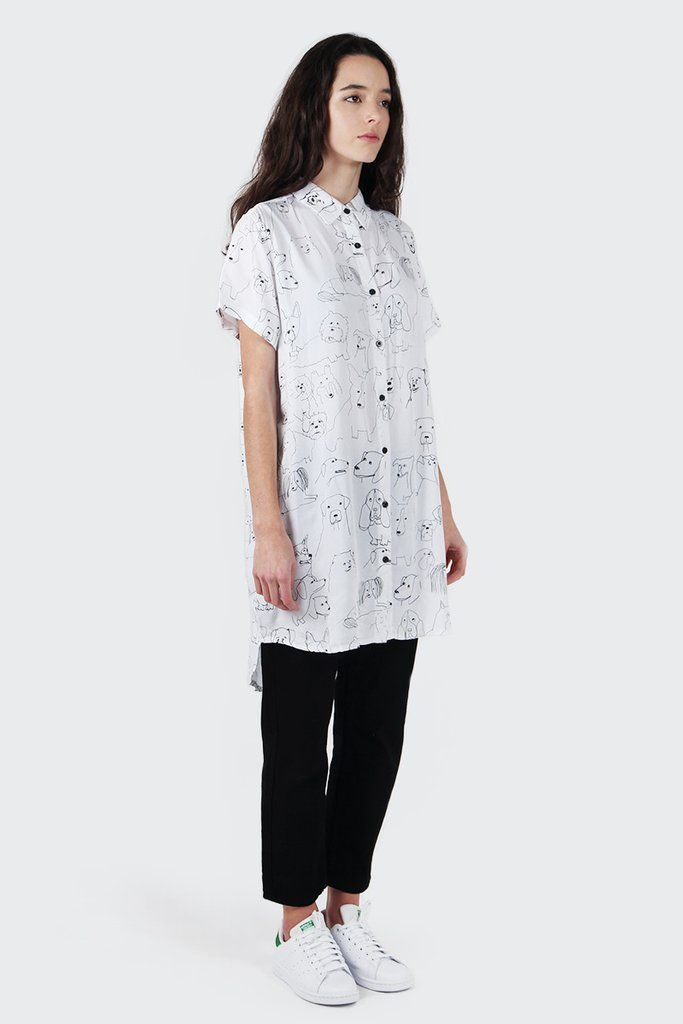 Lazy Oaf Dog Sketch Shirt - black Sizing: Regular - shop to sizeMaterial: 100% cotton- Elongated shirt- Collared shirt with button placket- Short…