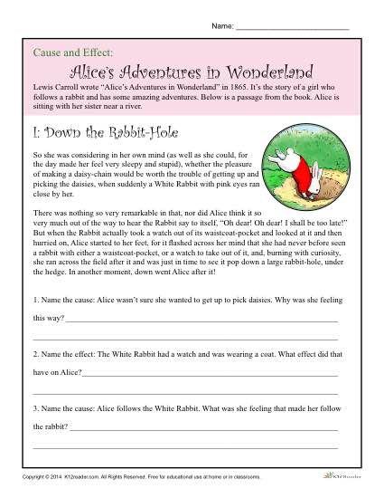 Cause and Effect Worksheet: Alice's Adventure in Wonderland | K12 ...