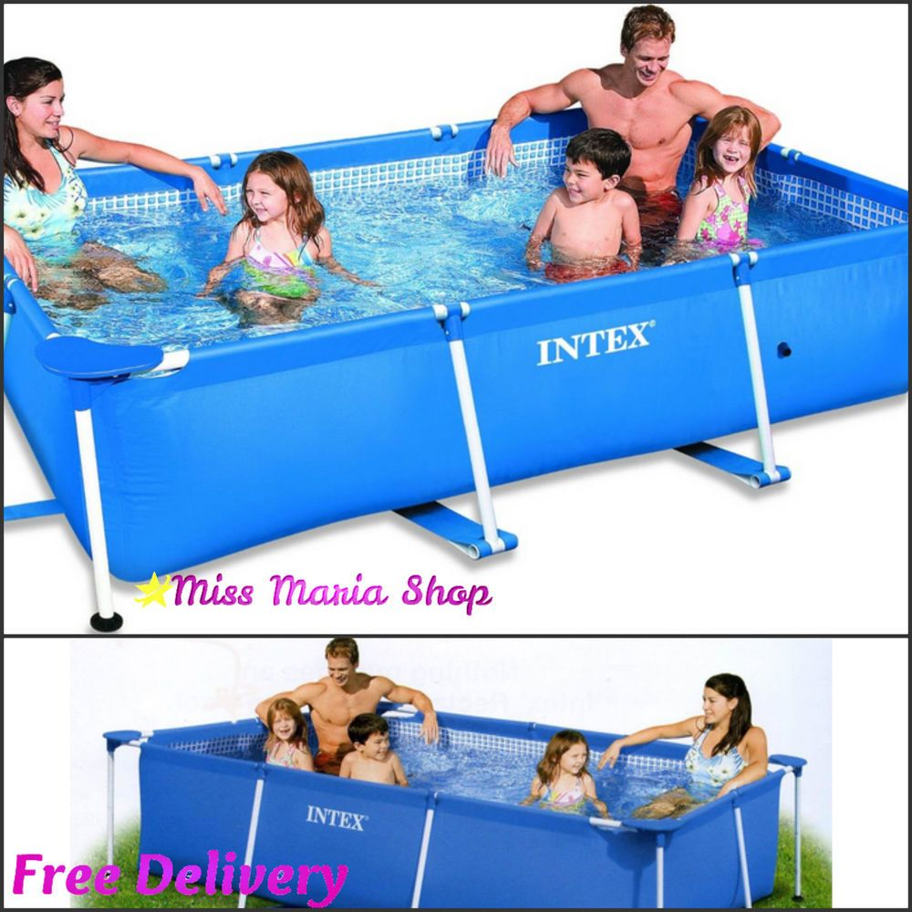 Paddling Pool Family Swimming Framed Rectangle Garden Fun Summer Patio Large New Rectangular Swimming Pools Splash Swimming Pool Rectangular Pool