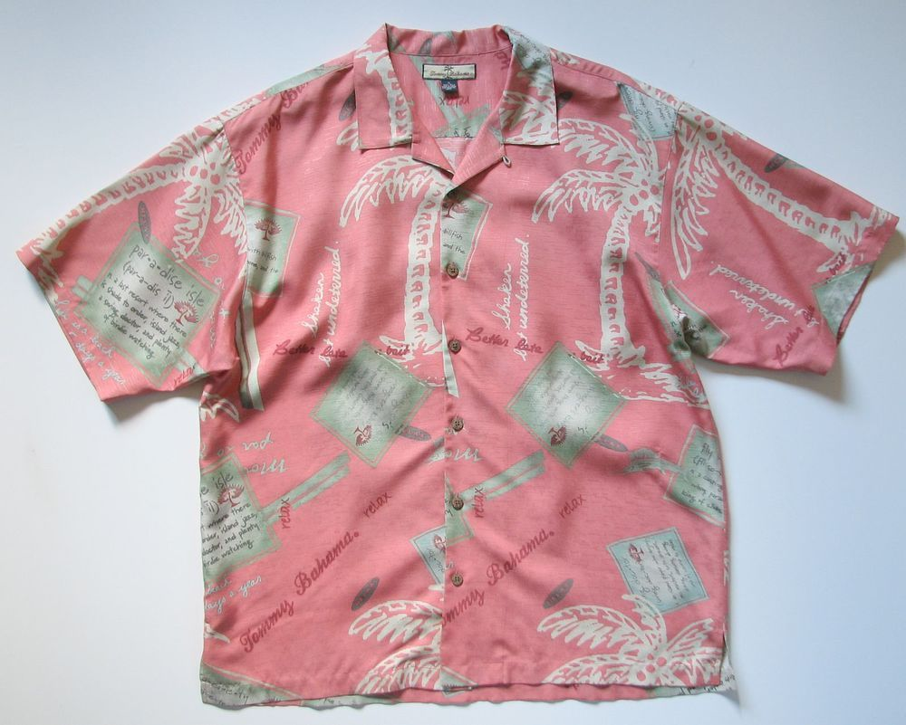 234ff406 TOMMY BAHAMA MENS XL SILK BUTTON CAMP HAWAIIAN SHIRT #TommyBahama #Hawaiian