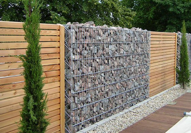 les atouts du gabion elle d coration amenagement pinterest mur de s paration s paration. Black Bedroom Furniture Sets. Home Design Ideas