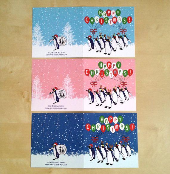Mix match Festive Peinguins Christmas Card by LaMaisonDuLapino
