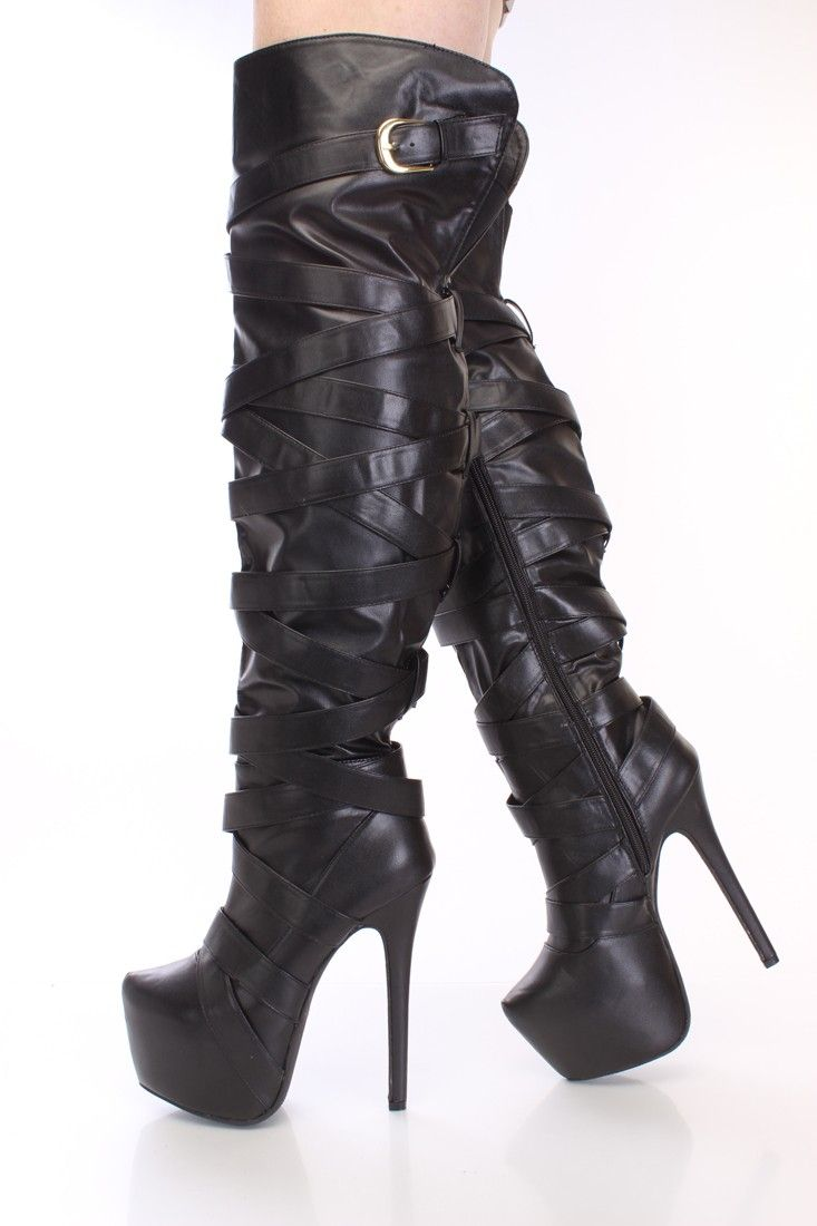 b58244a24e4 Black Wrap Around Strap Thigh High Boots Faux Leather in 2019 ...