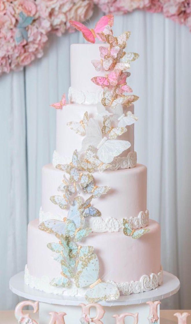 Spring Or Summer Wedding Sweet Butterfly Wedding Cake