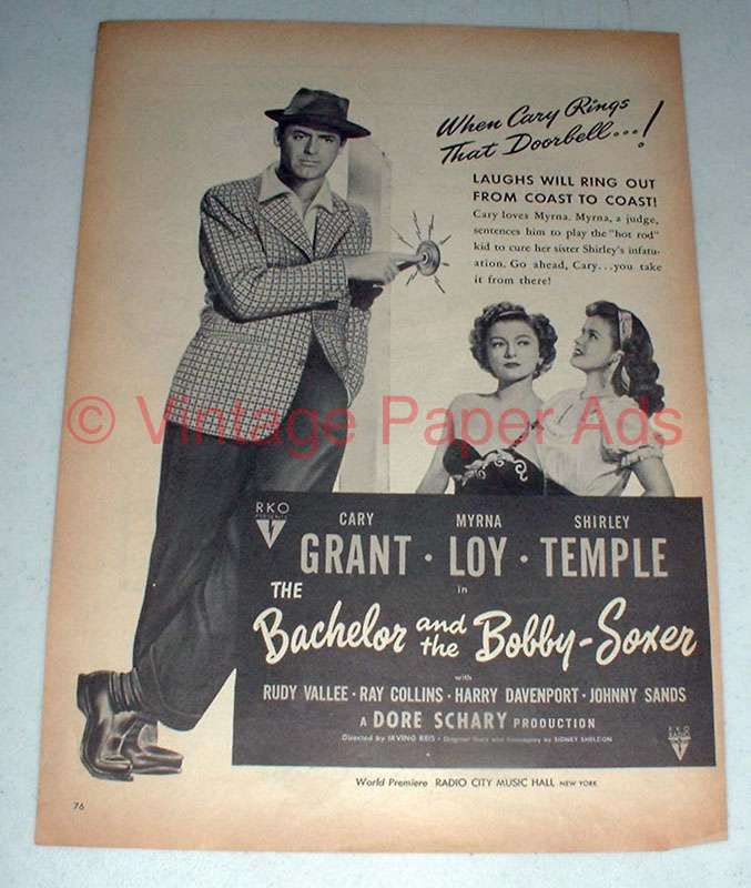 1947 The Bachelor & Bobby-Soxer Movie Ad - Cary Grant