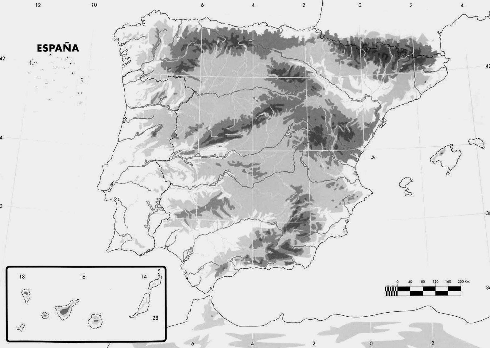 Profesor De Historia Geografía Y Arte El Relieve En La Península Ibérica Mapa Fisico De España Profesores De Historia Mapa Fisico