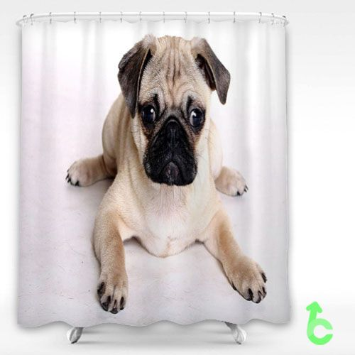 Dog Pug Puppy Shower Curtain Showercurtain Decorative Bathroom Creative Homedecor Decor Present Giftidea Birthday Men Women Kids Newhot