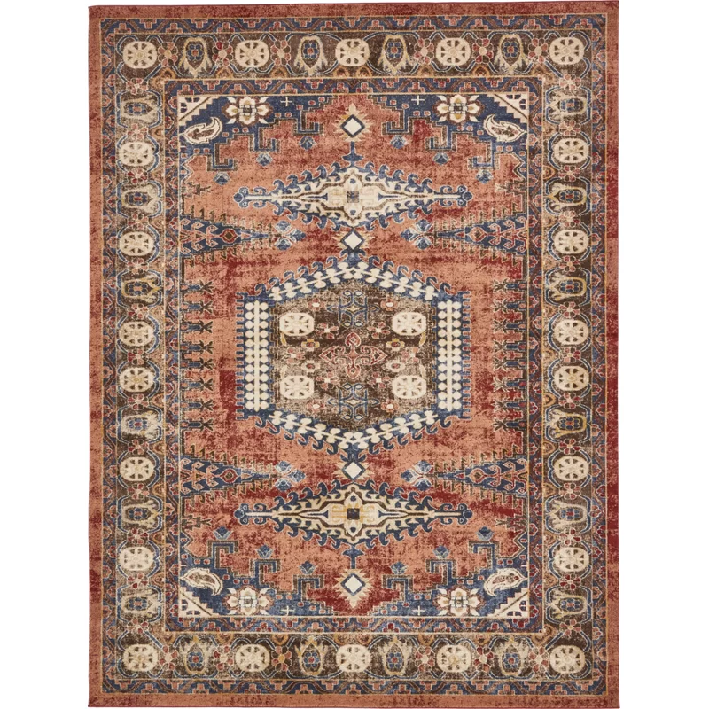 Nathanson Red Beige Blue Rug In 2020 Unique Loom Area Rugs Geometric Area Rug
