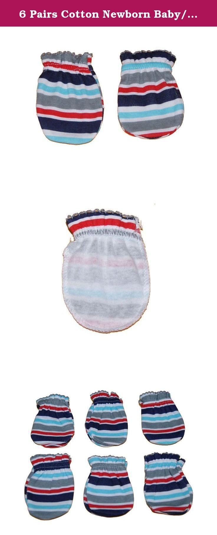 4 Pairs Cotton Newborn Baby//infant Boy No Scratch Mittens Gloves Stria