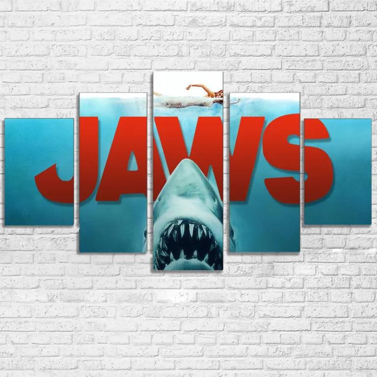Jaws Shark Movie 5 Panel Canvas Wall Art Home Decor Movie Wall Art Canvas Wall Decor Canvas Wall Art