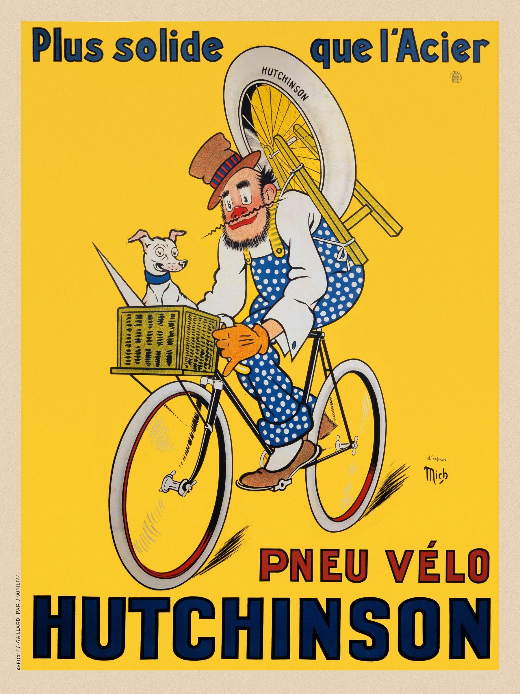 Bicycle Poster Pneu Velo Hutchinson | A bicyclette | Pinterest