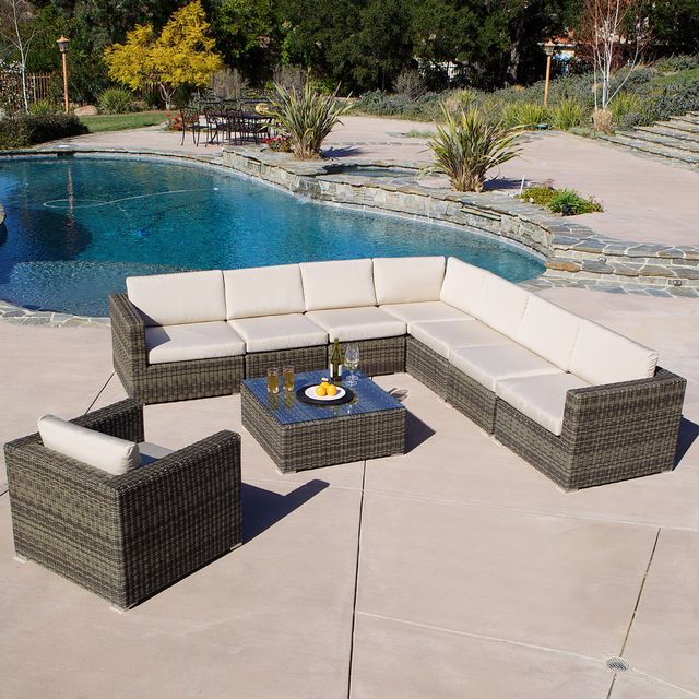 Sydney 9 Piece Sectional Sofa Set Contemporary Outdoor Lounge Sets