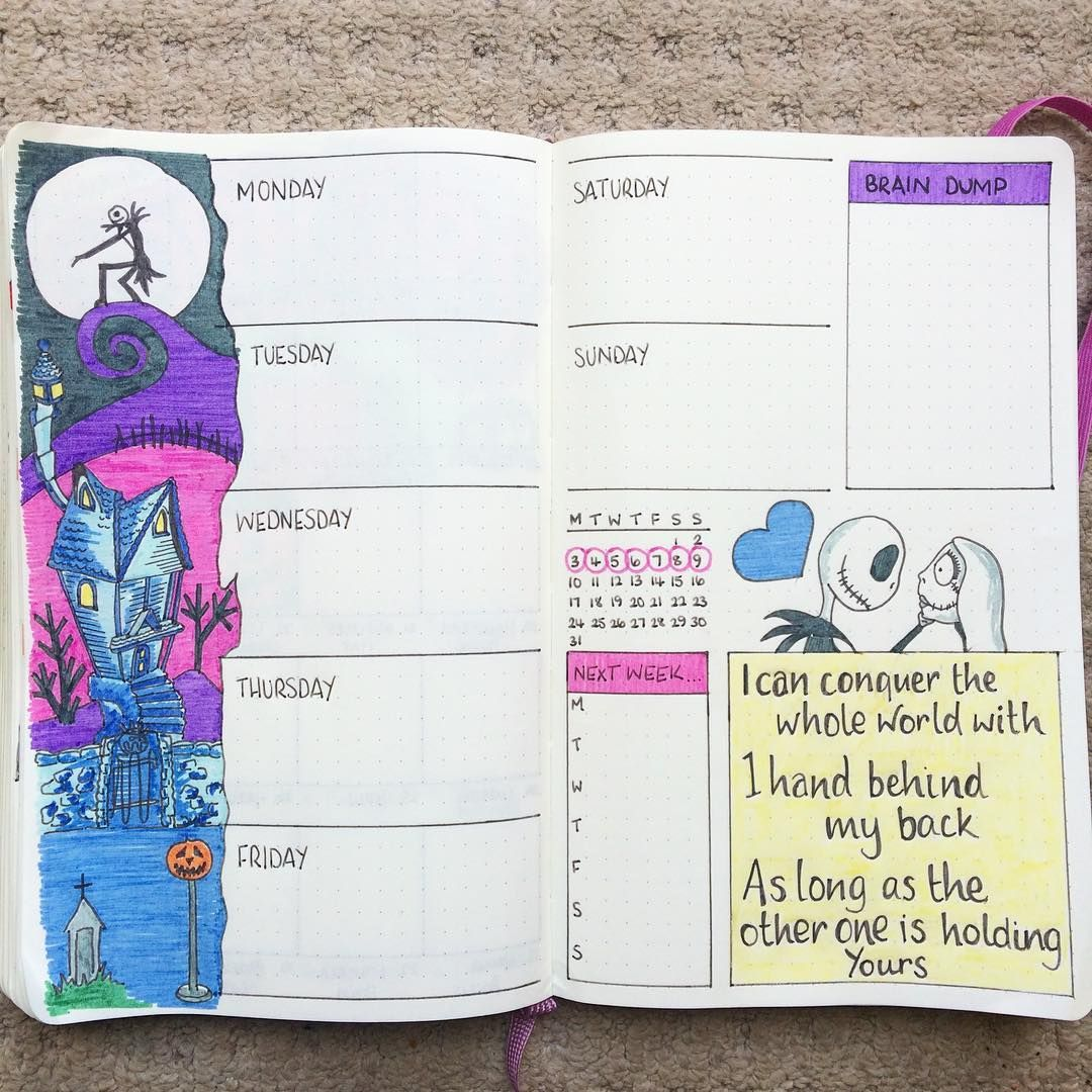 Nightmare Before Christmas 2020 And 2019 Journal Weekly Layout: Nightmare Before Christmas | Bullet journal themes