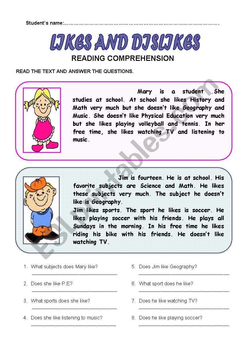 Likes And Dislikes Esl Worksheet By Patricia Elvira Likes And Dislikes Reading Comprehension Third Grade Reading