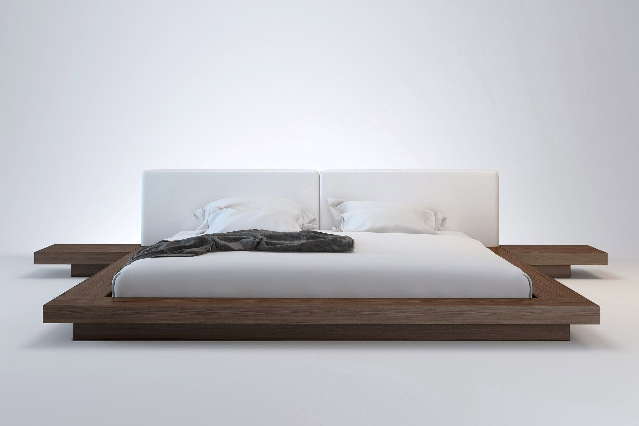 The Anese Inspired Worth Platform Bed Features A Low Profile Hardwood Frame With Matching Symmetrical Nightstands An Upholstered Eco Pelle Headboard