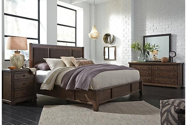 medium brown zenfield queen panel bed view 6 home on the. Black Bedroom Furniture Sets. Home Design Ideas