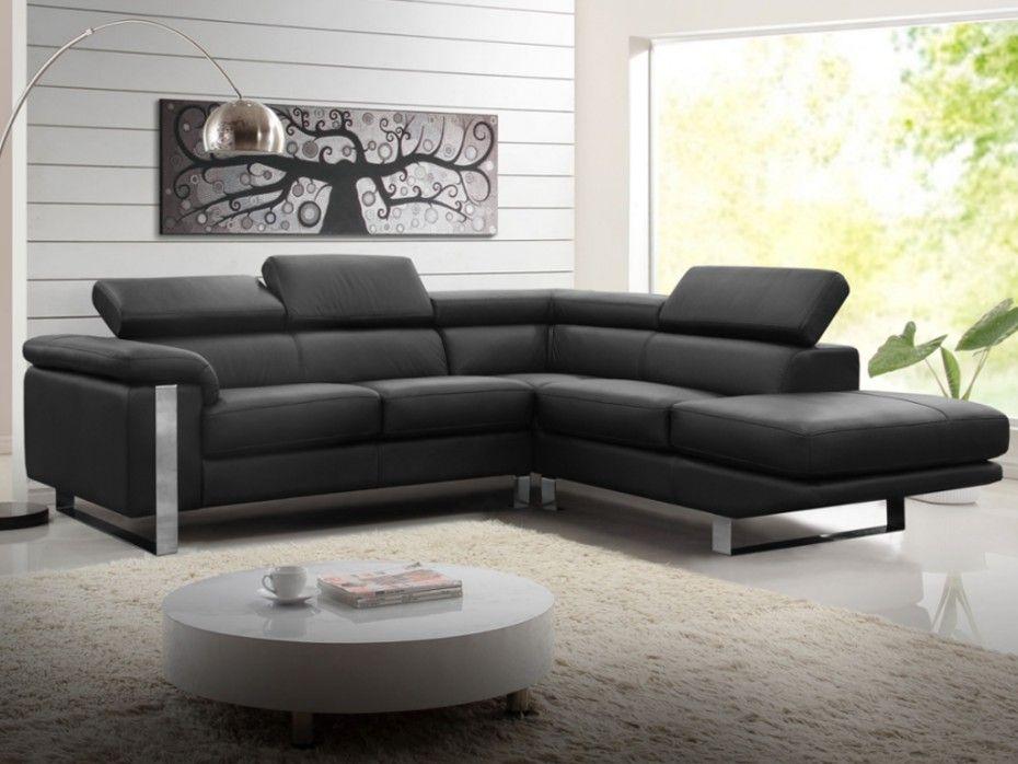 Canapé d angle en cuir MYSTIQUE Noir Angle droit