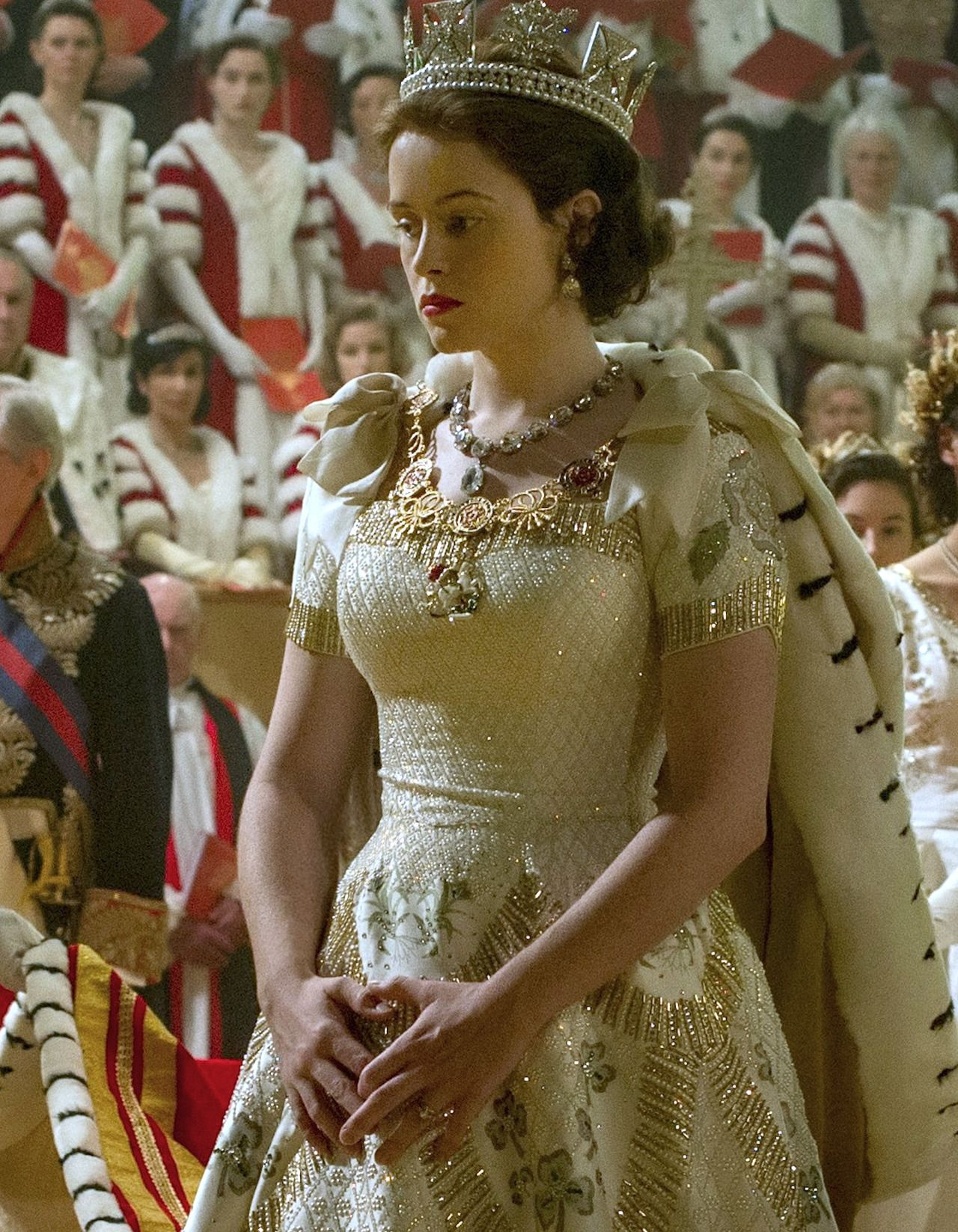 claire foy as queen elizabeth ii in the crown 2016 the crown the crown series crown. Black Bedroom Furniture Sets. Home Design Ideas