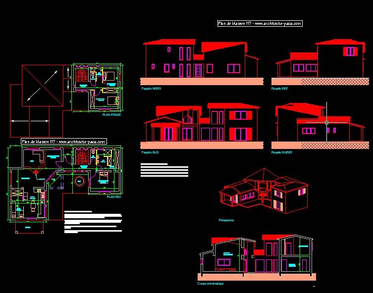 plan maison moderne dwg gratuit Villas Pinterest Villas