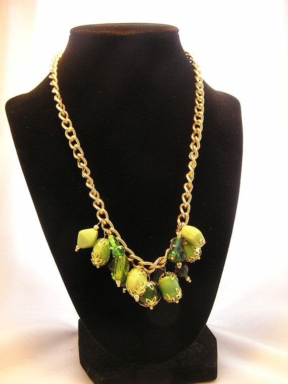 Gold & Green Beaded Necklace / Statement by CathysCraftyDesigns