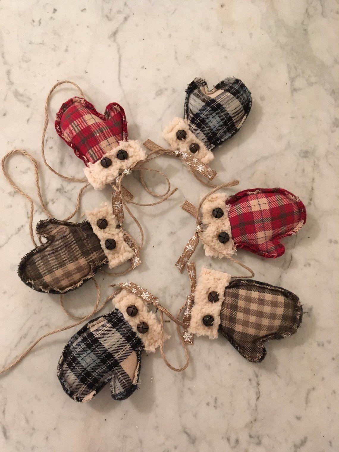 DIY Mitten Garland Kit, Primitive Christmas and winter