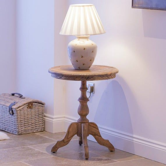 Aged Rustic Wooden Round Pedestal Occasional Table Wine Side Lamp Table#aged #lamp #occasional #pedestal #rustic #side #table #wine #wooden
