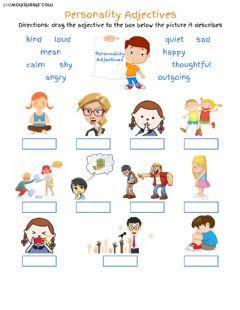 Personality Adjectives Language English Grade/level k12