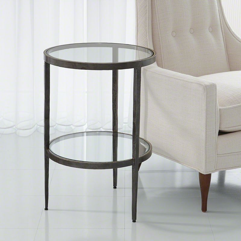 Studio A Home Laforge Two Tiered Side Table Iron Braised Brass Glass Side Table Glass Side Tables Side Table Round Accent Table