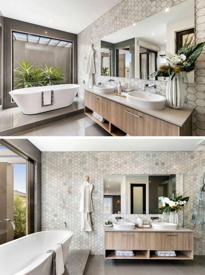 Zwei Überblicke Von Fliesen Badezimmer Beispielen Neben Vordergarten