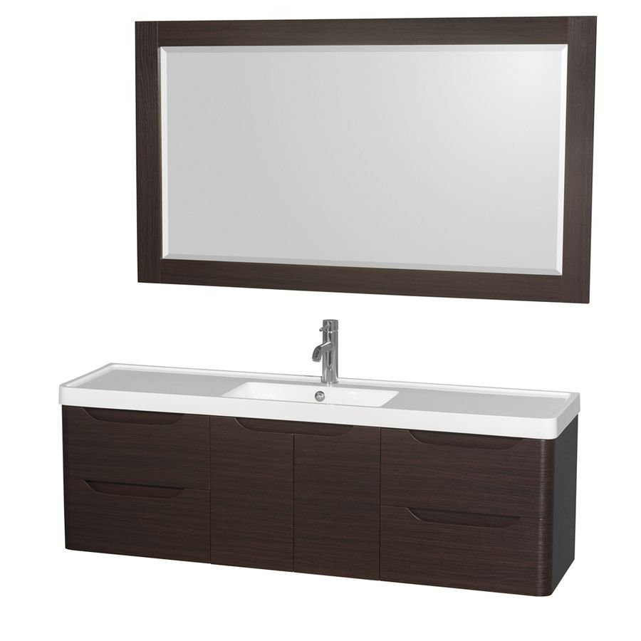 Wyndham Collection Murano Espresso Integrated Single Sink Bathroom Vanity With Acrylic Top Common 60 In X 17 Actua
