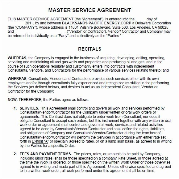 Master Service Agreement Template Unique 9 Sample Master Service Agreements In 2020 Statement Template Quote Template Contract Template