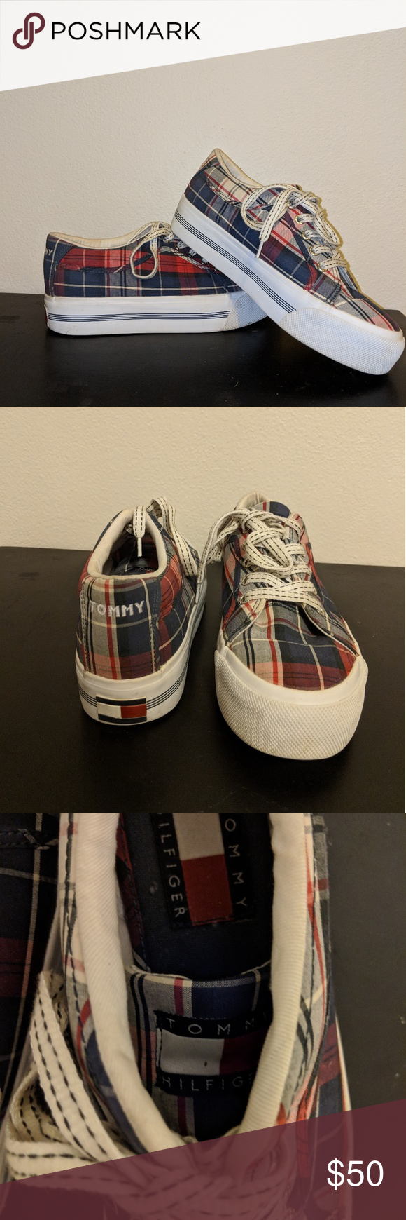 e5b95f80b78a11 Vintage 90s TOMMY Platform plaid tennis shoes Tommy platform tennis shoes.  Super cute. Size
