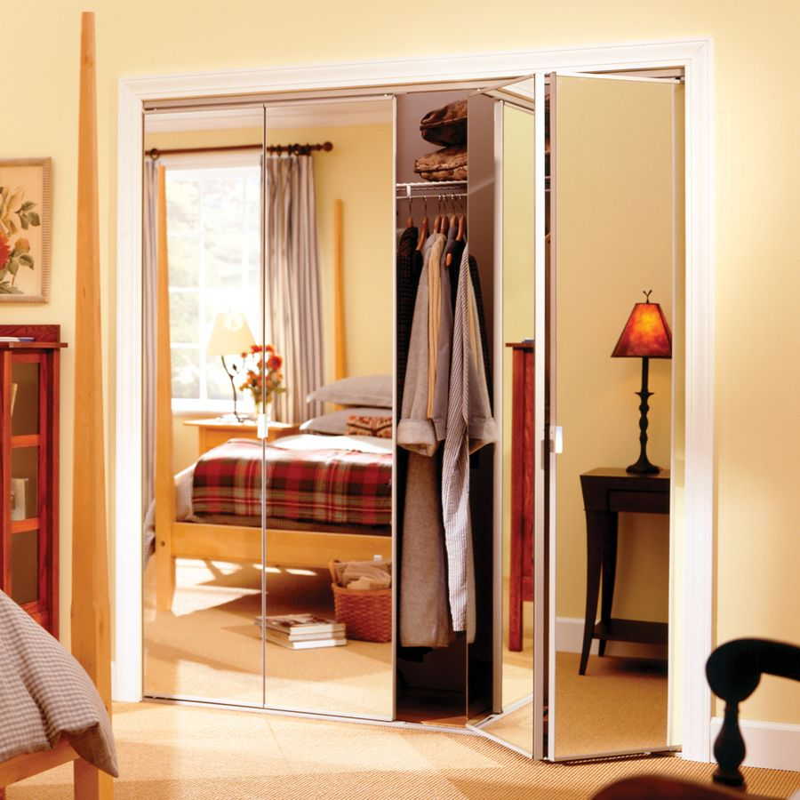 Shop Reliabilt 36 In X 6 Ft 8 In Clear Mirror Bifold Door At Lowes