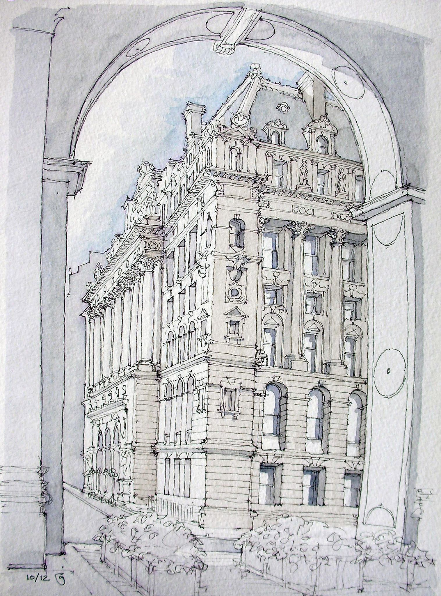 Surrogate Court Building Drawings, Watercolor