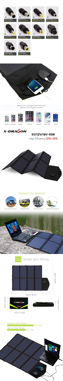 x dragon foldable portable solar panel charger 40w solar charger bag