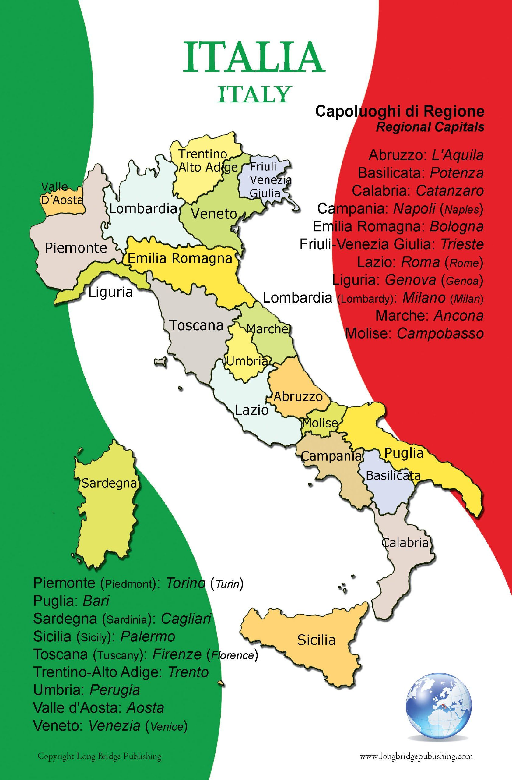 Poster in Italian Map of Italy and Its Regions for Classroom