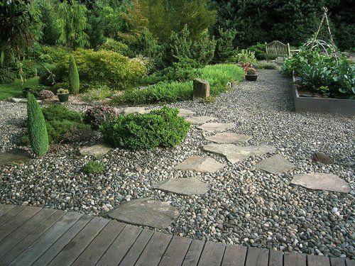 Gartengestaltung Vorgarten Mit Kies Gestalten Natursteinen Holzdielen Gehweg  (500×375)