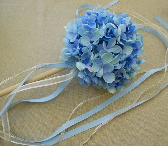 Blue Hydrangea Flower Girl Ribbon Wand By Paperbunnybrigade 22 00 Flower Girl Wand Blue Hydrangea Flowers Blue Hydrangea Wedding